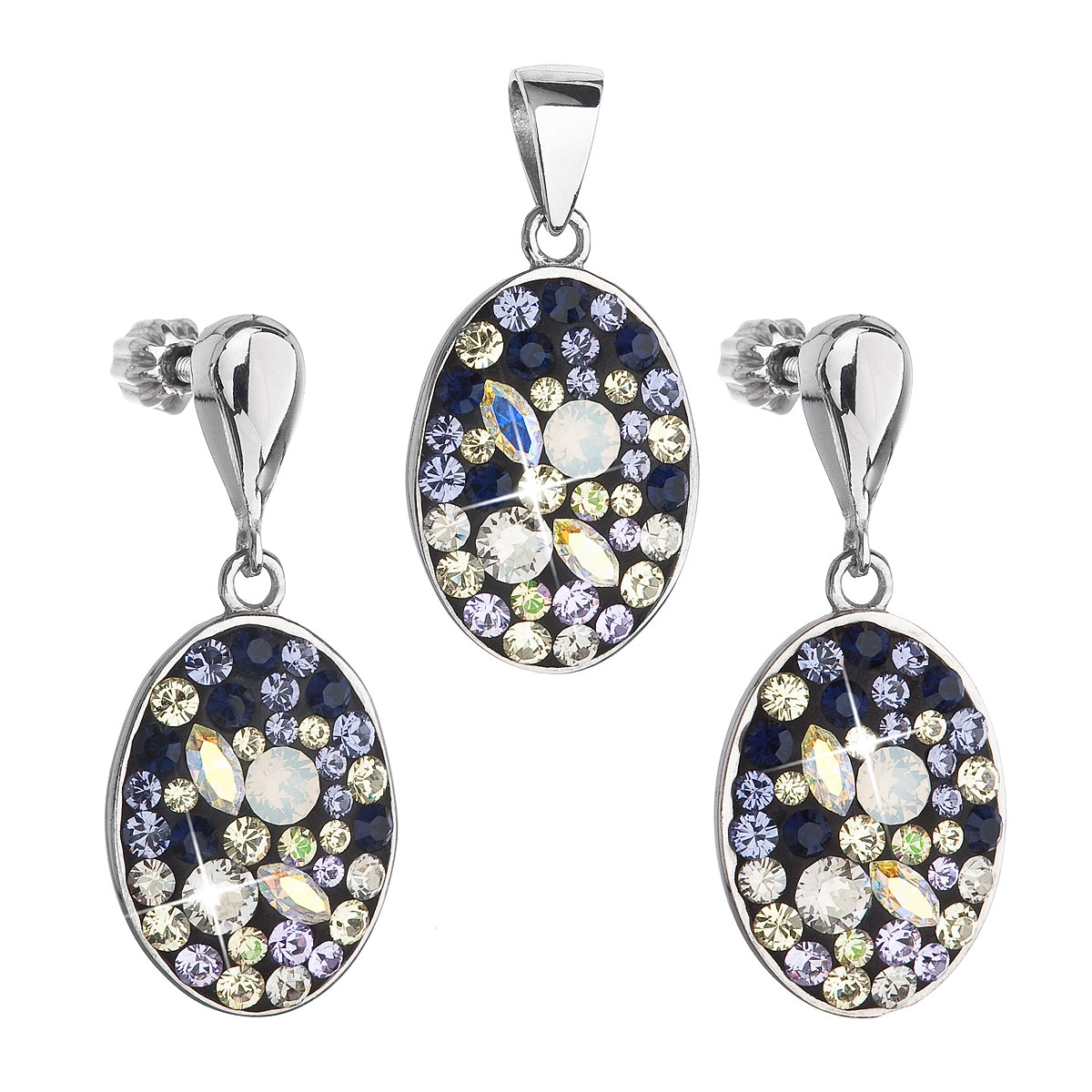 Sada stříbrných šperků oválky s kamínky Crystals from Swarovski®