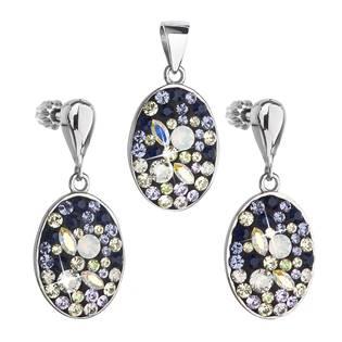 EVOLUTION GROUP CZ Sada stříbrných šperků oválky s kamínky Crystals from Swarovski® - 39150.3