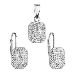 EVOLUTION GROUP CZ Sada stříbrných šperků obdélníky s kamínky Crystals from Swarovski® Crystal - 39156.1