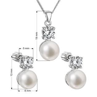 Stříbrná perlová souprava s říčními perlami a zirkony