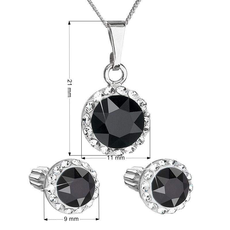 Sada náušníc a prívesku s kamienkami Crystals from Swarovski ® Black Jet