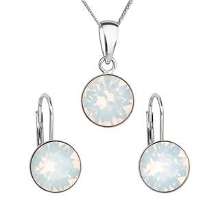EVOLUTION GROUP CZ Sada stříbrných šperků s kameny Crystals from Swarovski® White Opal - 39140.7