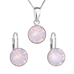 EVOLUTION GROUP CZ Sada stříbrných šperků s kameny Crystals from Swarovski® Rose Opal - 39140.7
