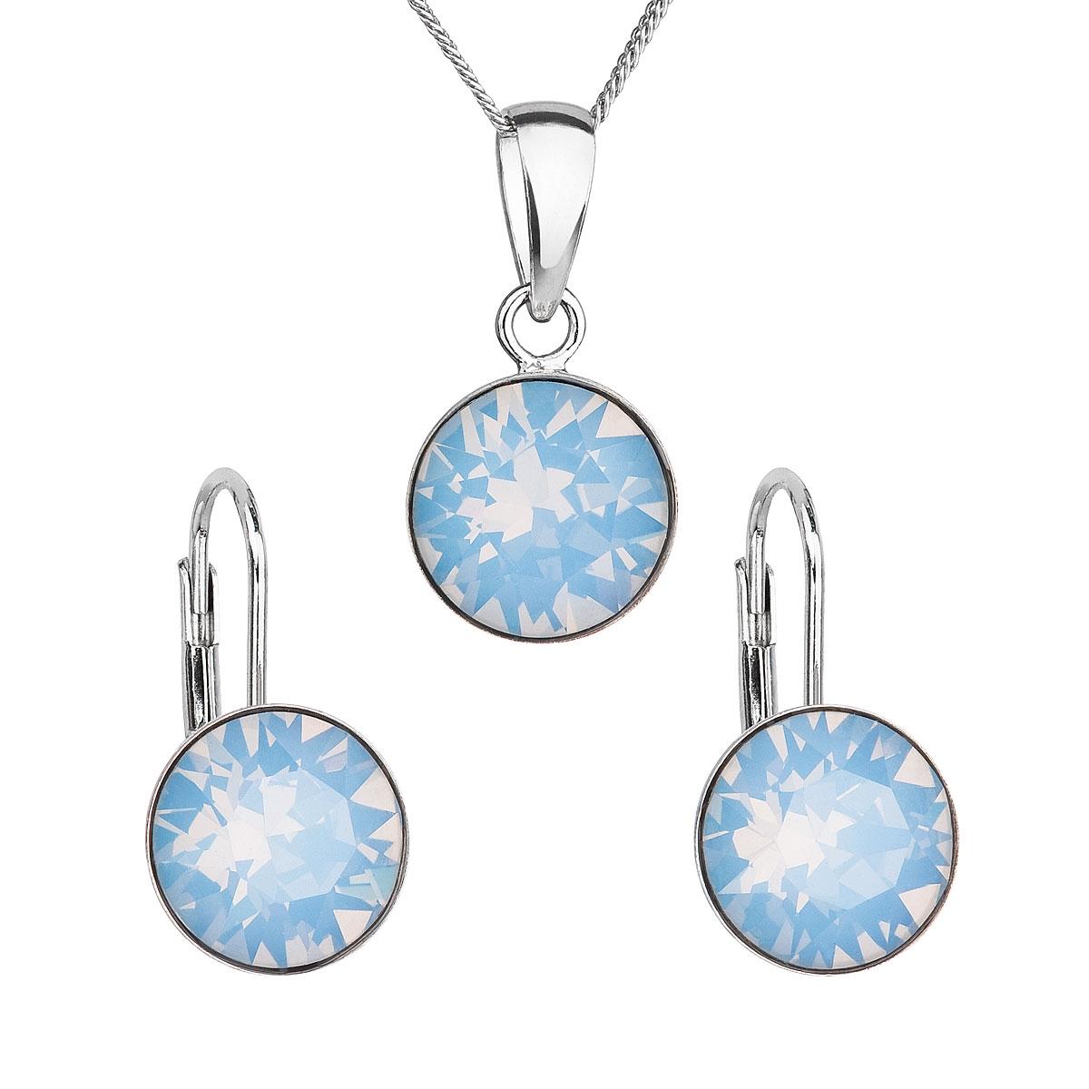 Sada stříbrných šperků s kameny Crystals from Swarovski® Blue Opal EG3054-OB