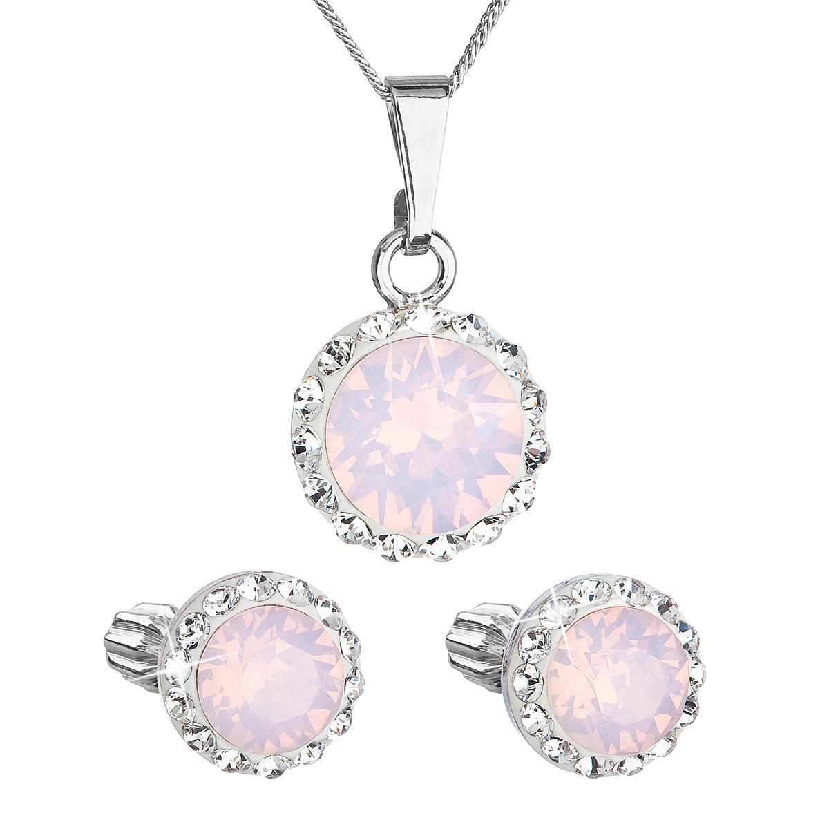 Sada náušníc a prívesku s kamienkami Crystals from Swarovski ® Rose Opal