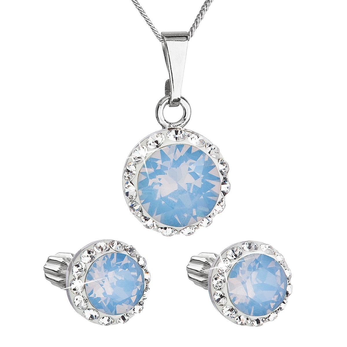 Sada náušníc a prívesku s kamienkami Crystals from Swarovski ® Blue Opal