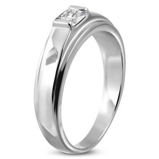Ocelový prsten se čtvercovým zirkonem