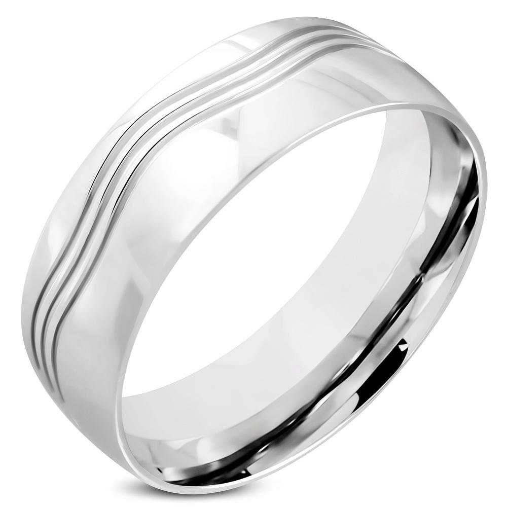 Oceľový snubný prsteň, šírka 8 mm, veľ. 62