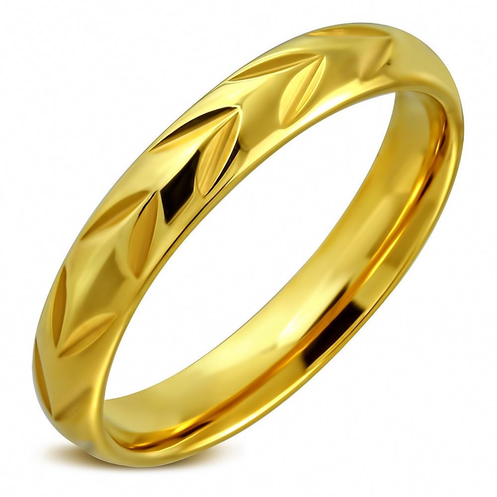 Pozlátený oceľový snubný prsteň, šírka 4 mm, veľ. 57