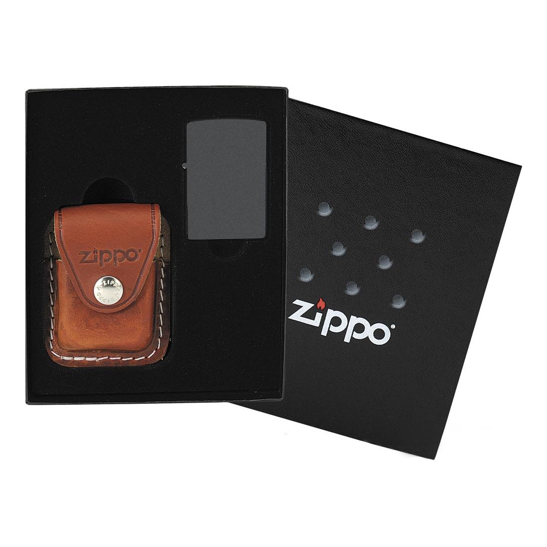 ZIPPO dárková krabička + hnědá kožená kapsička