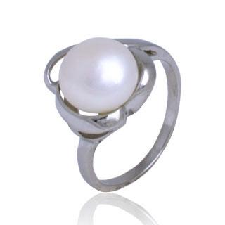 Oceľový prsteň s perličkou, veľ. 52