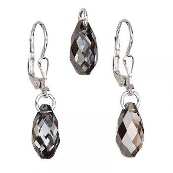 Strieborný set náušníc a prívesku s kryštálmi Crystals from Swarovski ® Silver Night