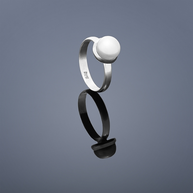 Perlový prsteň Buka - biela perla