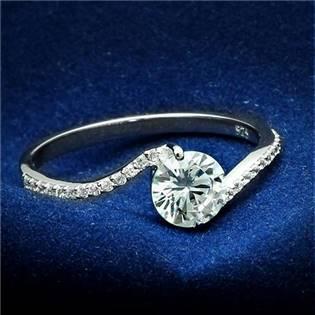 Stříbrný prsten s čirými zirkony
