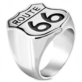 Motorkářský ocelový prsten ROUTE 66 OPR1625
