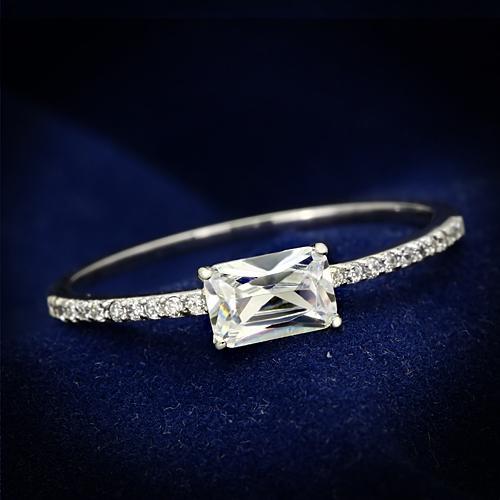 Strieborný prsteň - obdĺžnikový zirkón