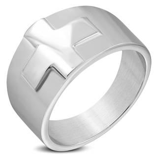 Pánský ocelový prsten - kříž