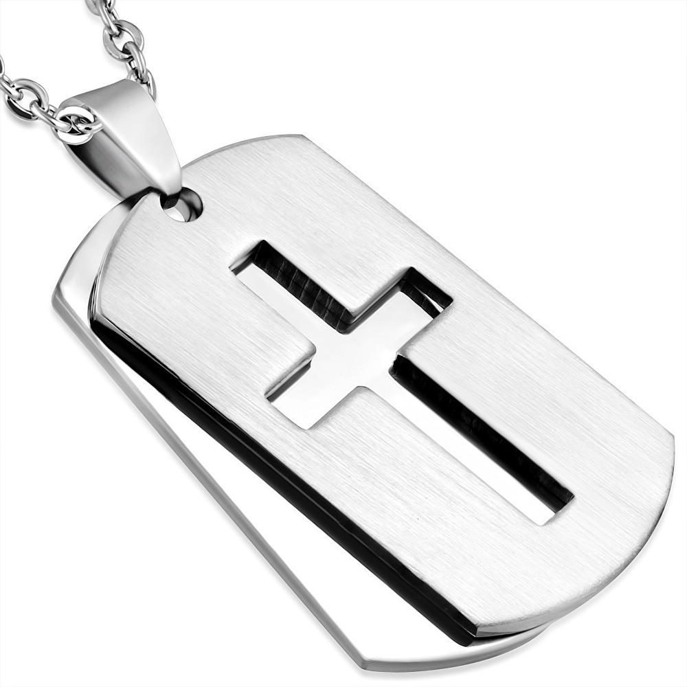 Dvojitý oceľový prívesok - doštička s krížom