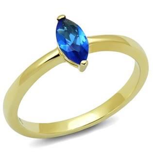 Zlacený ocelový prsten s modrým kamenem