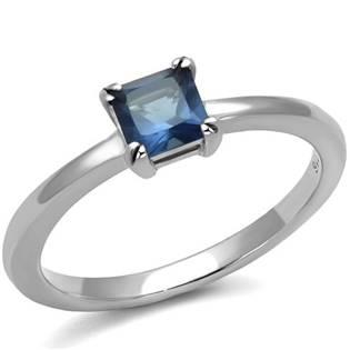 Ocelový prsten s modrým kamenem