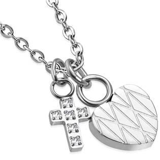 Šperky4U Ocelový řetízek se srdíčkem a křížkem - OPE1065.0