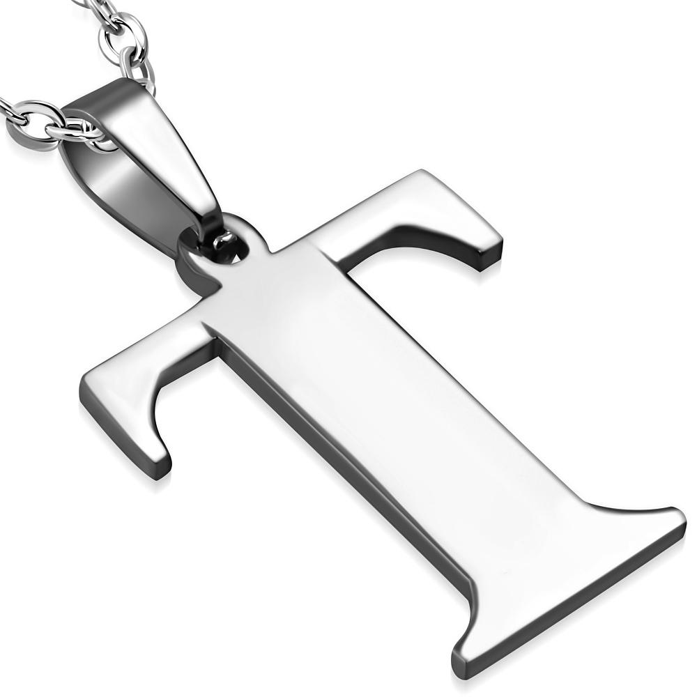 Ocelový přívěšek - písmeno - iniciála T