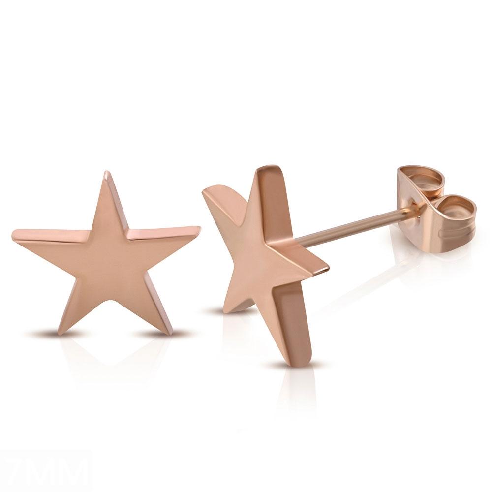 Ocelové náušnice hvězdy zlacené 7 mm