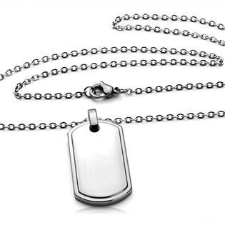Šperky4U Ocelový řetízek s přívěškem - destičkou - OPD0008