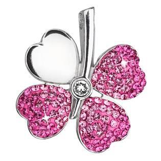 Stříbrný přívěšek čtyřlístek s krystaly Crystals from Swarovski® Rose