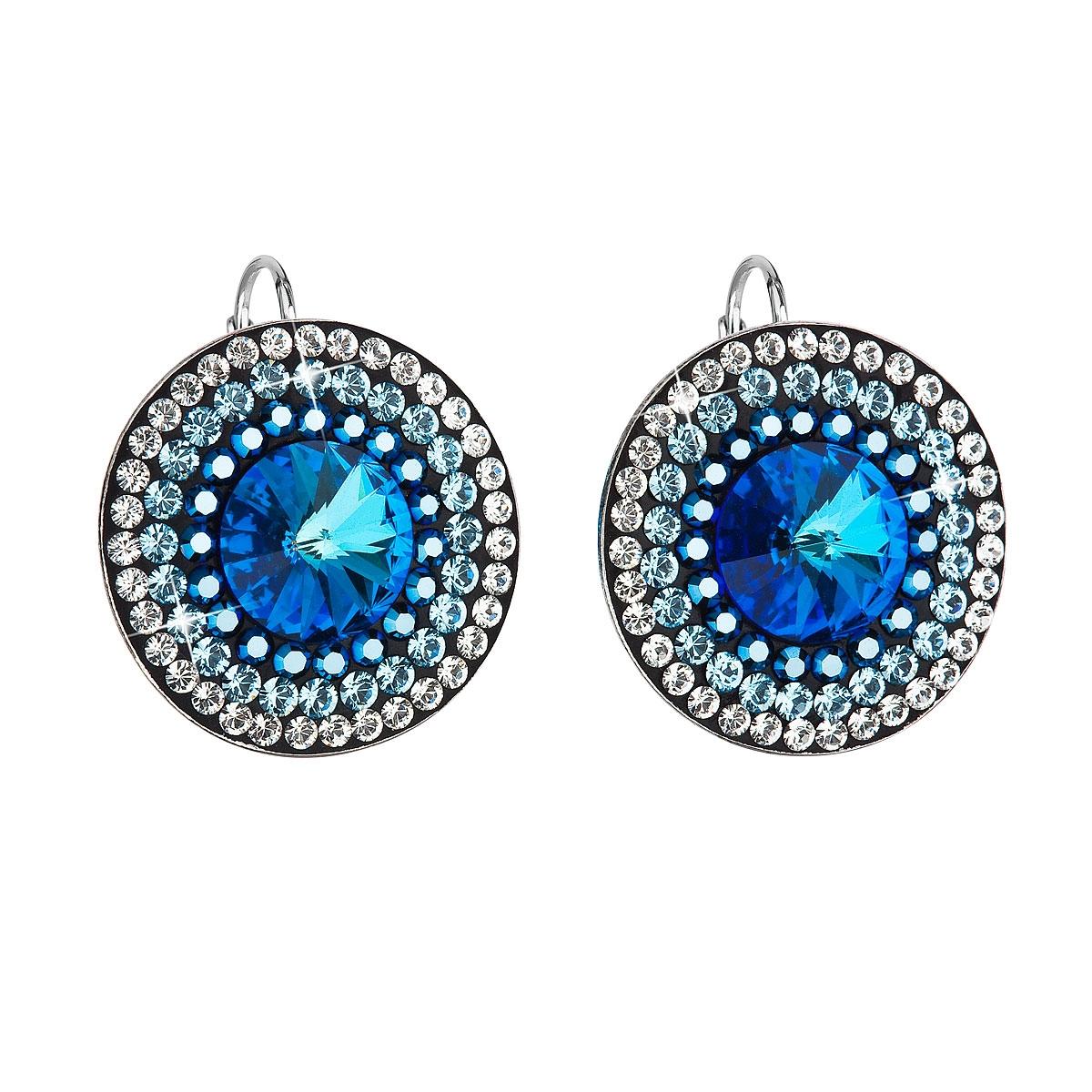 Strieborné náušnice visiace s kryštálmi Swarovski modré okrúhle-rivoli dc556934bb9