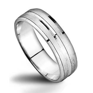 Stříbrný snubní prsten, šíře 5 mm, vel. 61