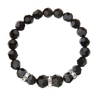 Náramek s korálky Crystals from Swarovski® Jet Black