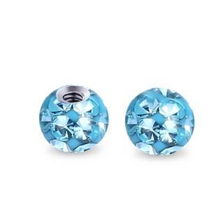 Náhradní kulička s krystaly Swarovski®, 3 mm, závit 1,2 mm, barva tyrkysová