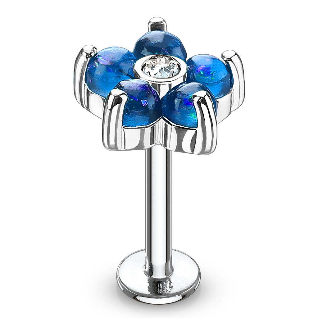Labreta / piercing do ucha - kytička, modré kamienky