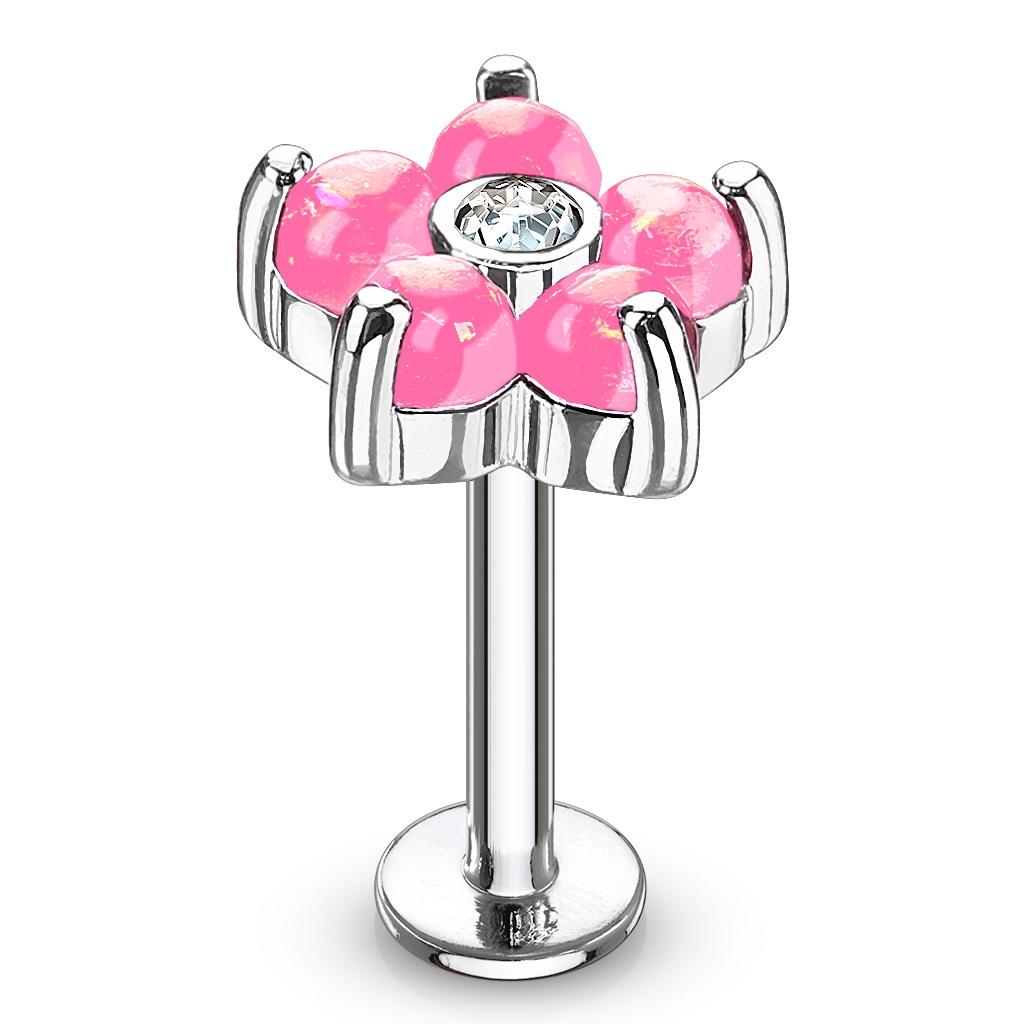 Labreta / piercing do ucha - kytička, ružové kamienky