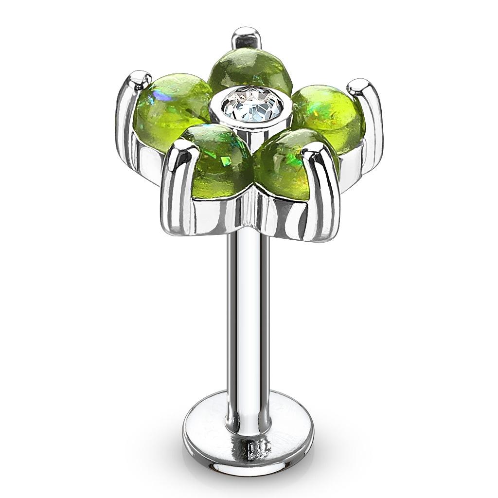 Labreta / piercing do ucha - kytička, zelené kamienky