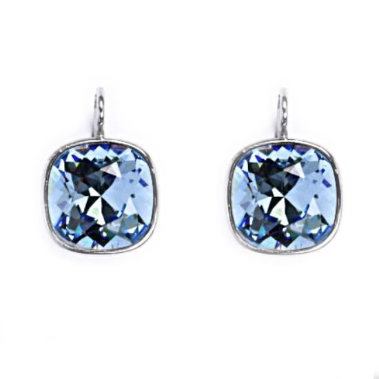 Stříbrné náušnice s kameny Crystals from Swarovski®, barva: AQUAMARINE CS5641-Q