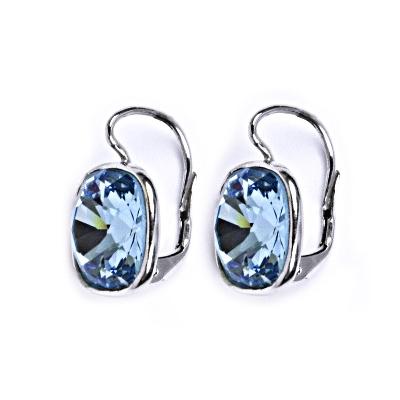 1729442b4 Strieborné náušnice s kameňmi Crystals from Swarovski ®, farba: AQUAMARINE