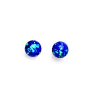 Stříbrné šroubovací náušnice kuličky s modrými opály CS5643-B