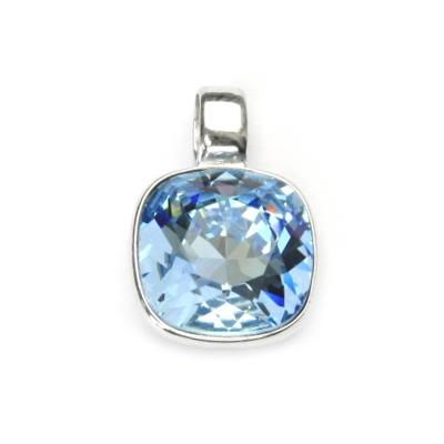 Strieborný prívesok s kameňom Crystals from SWAROVSKI®, farba: AQUAMARINE