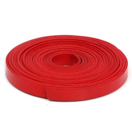 Kožená šňůrka plochá červená, šíře 10 mm