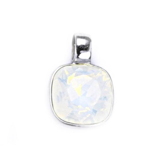 Strieborný prívesok s kameňom Crystals from SWAROVSKI®, farba: WHITE OPAL
