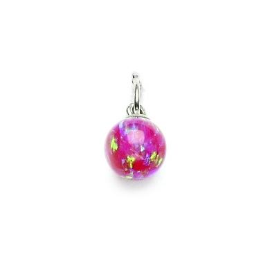 Stříbrný přívěšek - kulička růžový opál