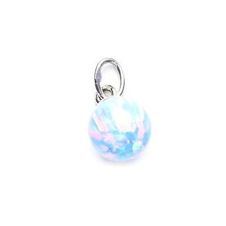 714517262 Strieborný prívesok - gulička svetlo modrý opál