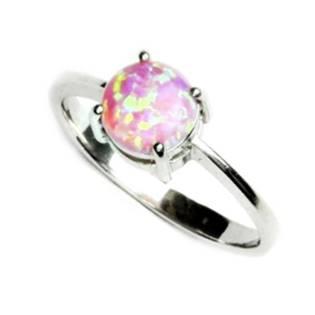 Stříbrný prsten s kulatým růžovým opálem