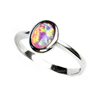 Stříbrný prsten s růžovým opálem