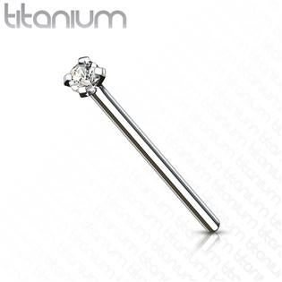 Variabilní piercing do nosu - titan, čirý kamínek