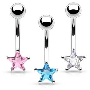 Piercing do obočí - hvězda, tmavě modrá barva