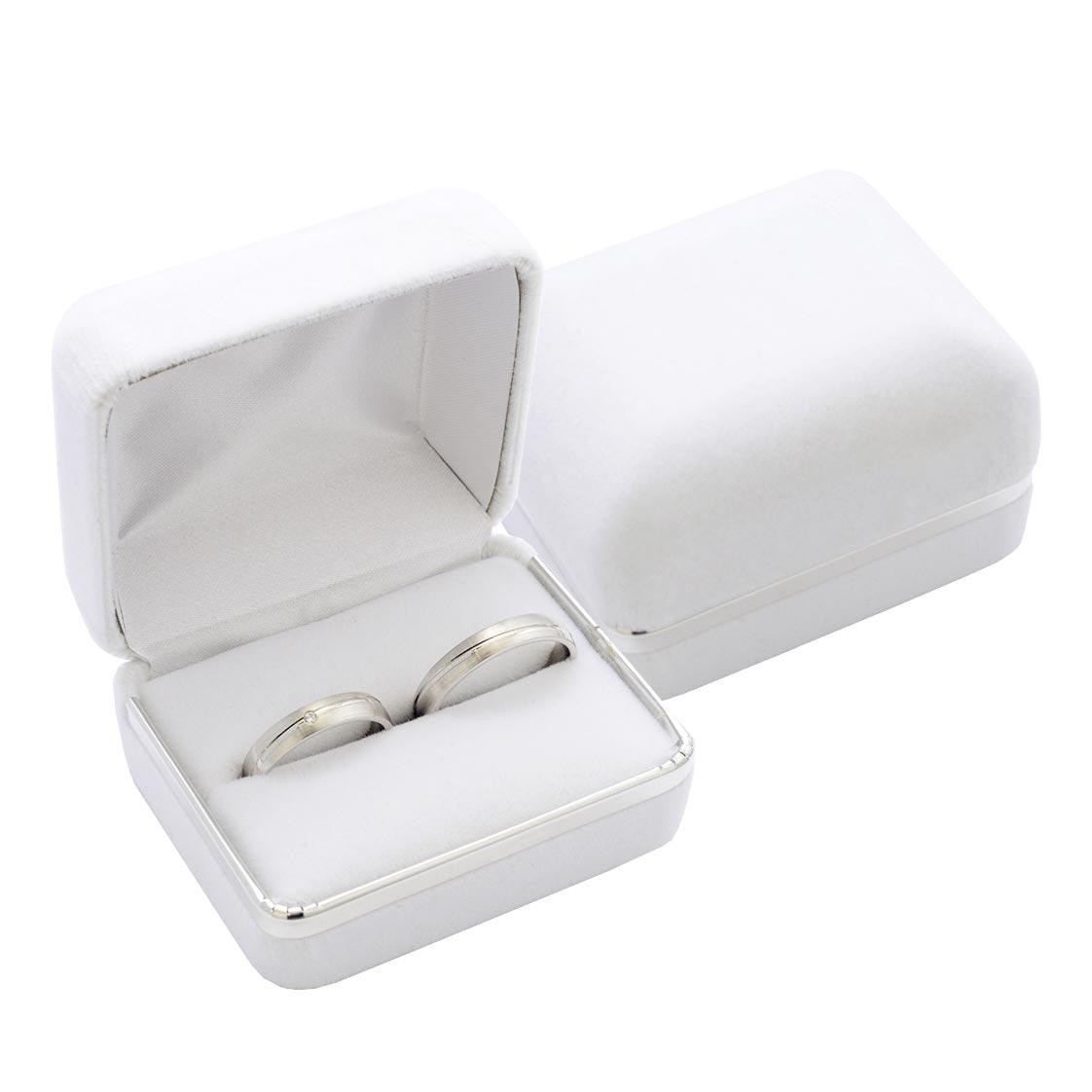 Semišová darčeková krabička na prsteň snubný prsteň, farba biela