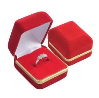KR0005-R/R Dárková krabička na prsten - semiš červený